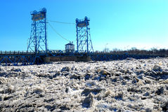 Ice Jam Threatens Selkirk MB Stock Photography