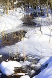 Ice jams can cause flooding, damage structures in or near the river. A stream is a body of water with surface water flowing within the bed and banks of a channel Royalty Free Stock Photos