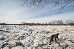 Ice jams on the Mohawk River. Ice jams overflow the Mohawk River in Schenectady's region of Upstate New York Royalty Free Stock Images
