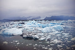 Ice Lagoon. Jokulsarlon ice lagoon in south eastern Iceland is right between Vatnajokull glacier and the ocean. The setting for lots of Hollywood movies Royalty Free Stock Images