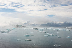 Ice lagoon on a sunny day with some fog, Jokulsarlon, Iceland Royalty Free Stock Photo