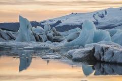 Ice Lagoon at sunset stock photo