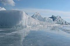 The ice of lake Baikal royalty free stock photo