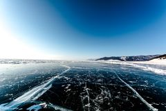 Ice horizont of lake Baikal. Ice of lake Baikal with a view on the frozen ice, winter 2018, Siberia, Russia Stock Photography