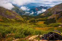 Ice lake basin overlook from upper basin valey Royalty Free Stock Image