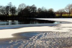 Ice upon lake Einfelder See. In winter Stock Images