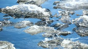 Ice lake Iceland sun. The ice against the landscape spring magical stock video footage