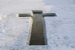 The ice on the lake January 19, in the form of a cross prepared for take Holy water Royalty Free Stock Photography