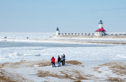 Ice on lake michigan by the light house Royalty Free Stock Photo
