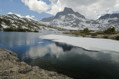 Ice on lake in Sierra Nevada mountains, California Royalty Free Stock Photos