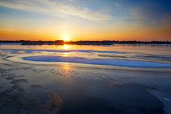 The ice lake and snow sunset Stock Image