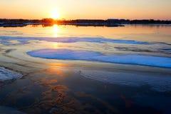 The ice lake sunset Stock Photography