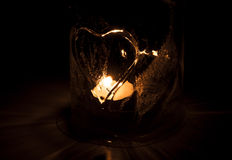 Candle in ice lantern Royalty Free Stock Photography