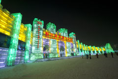 Ice lantern palace harbin china Stock Photography