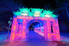 The ice lantern show gallery Royalty Free Stock Photos