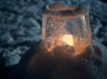 Ice lantern in winter Royalty Free Stock Image