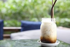 Iced latte coffee. In close up stock images