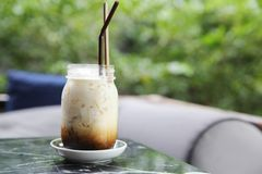 Iced latte coffee. In close up stock photography