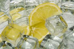 Ice and lemon Stock Images