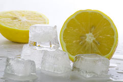 Ice and lemon. Five ice cubes melted in water and slices of lemon stock image