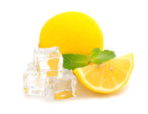 Ice, lemon and mint Stock Images