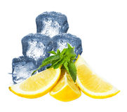 Ice, lemon and mint Stock Photos