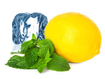 Ice, lemon and mint Stock Photography