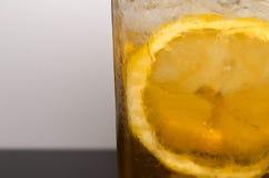 Ice lemon tea closeup. stock image