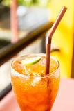 Ice lemon tea. Drinks quenching. Refreshing Stock Photos