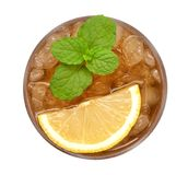 Ice lemon tea with mint top view isolated on white background, path stock photos