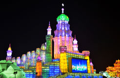 Ice light in Harbin, China, Hei Longing Province. In Ice and Snow festival, which is a traditional Chinese art Royalty Free Stock Photos