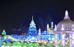 Ice light in Harbin, China, Hei Longing Province. In Ice and Snow festival, which is a traditional Chinese art stock image