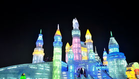 Ice light in Harbin, China, Hei Longing Province. In Ice and Snow festival, which is a traditional Chinese art Royalty Free Stock Photo