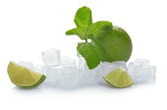 Ice, lime and mint Stock Images