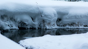 Ice little river in snow. Frozen little river in snow stock photography
