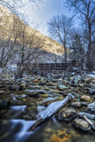 Ice on the Log. The Big Cottonwood River up Big Cottonwood Canyon in the Wasatch mountains of Utah USA in January unuasal low snow but a clear sky and cold shot Stock Photos