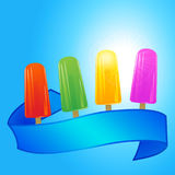 Ice lollies and banner over summer blue sky Stock Photography