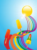 Ice lollies and coloured ribbons and sunny background Royalty Free Stock Photos
