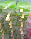 Ice lollies. Green and pink ice lollies Stock Photo