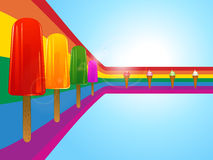 Ice lollies and ice creams on curved rainbow Royalty Free Stock Photos