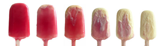 Ice lollies melt Stock Images