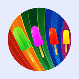 Ice lollies over multicoloured curved stripes border Stock Photos