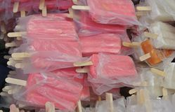 The Ice lollies. The pink and white  Ice lollies Royalty Free Stock Image