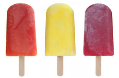 Ice lollies. Three frozen fruit flavored ice lollies over a white background Stock Images