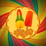Ice lollies on vintage border and swirl Stock Image