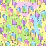 Ice Lollipops Popsicles Summer Punchy Pastels Colors Vector Seamless Pattern. Ice Popsicles Summer Colorful Punchy Pastels Summer Seamless Pattern, Pop Art Style stock illustration