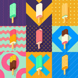 Ice lolly colorful set. Ice lolly set with colorful patterns Stock Image