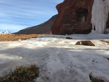 Los Penitentes na Argentina. Ice in Los Penitentes, Argentina, in the middle of the Andes Stock Images