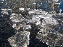 Ice lumps on a frozen water surface royalty free stock photos