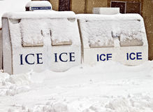 Ice Machines Covered with Snow royalty free stock photos